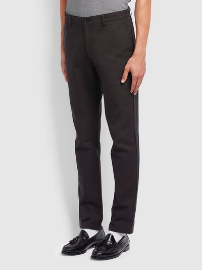 Elm Regular Fit Cotton Hopsack Trousers In Black