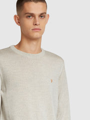 Mullen Merino Wool Crew Neck Jumper In Silver Marl