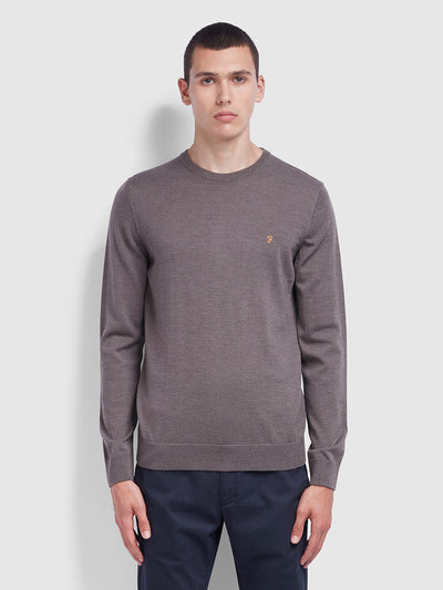 Mullen Merino Wool Crew Neck Jumper In Rich Grey