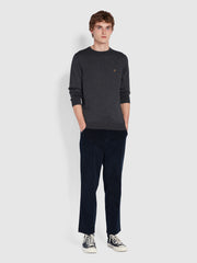 Mullen Merino Wool Crew Neck Jumper In Farah Charcoal
