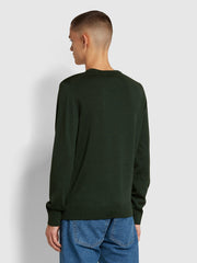 Mullen Merino Wool Crew Neck Jumper In Farah Forest Green