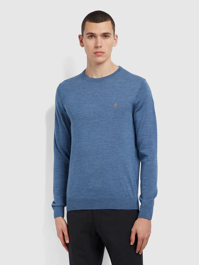 Mullen Merino Wool Crew Neck Jumper In Deep Blue