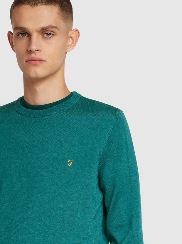 Mullen Merino Wool Crew Neck Jumper In Rich Turquoise