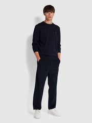 MULLEN MERINO WOOL CREW NECK JUMPER IN NAVY