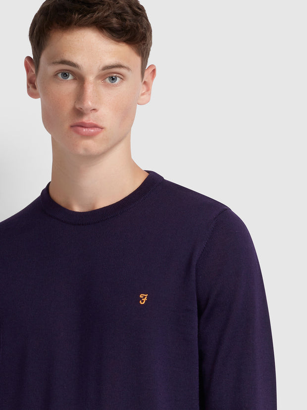 Mullen Merino Wool Crew Neck Jumper In Raisin