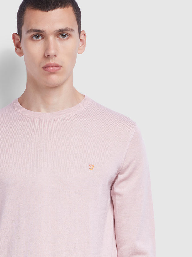Mullen Merino Wool Crew Neck Jumper In Blush