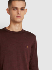 Mullen Merino Wool Crew Neck Jumper In Farah Burgundy