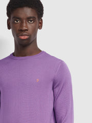 Mullen Merino Wool Crew Neck Jumper In Rich Lilac