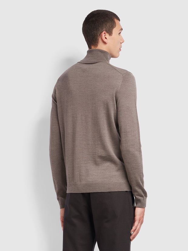 Gosforth Merino Wool Roll Neck Jumper In Rich Grey