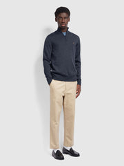 Redchurch Merino Wool Quarter Zip Jumper In Farah Charcoal