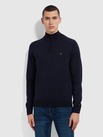 Redchurch Merino Wool Quarter Zip Jumper In True Navy