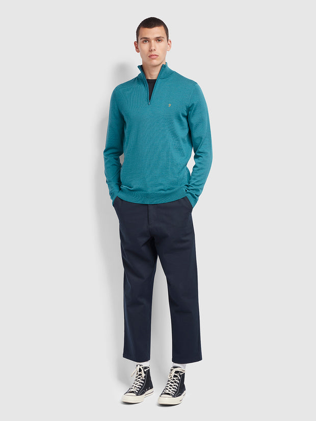 Redchurch Merino Wool Quarter Zip Jumper In Rich Turquoise