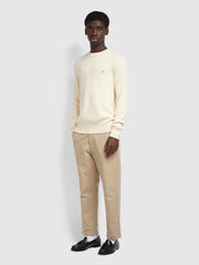 Horace Crew Neck Jumper In Cream