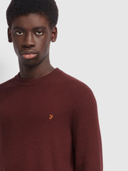 Horace Crew Neck Jumper In Farah Burgundy