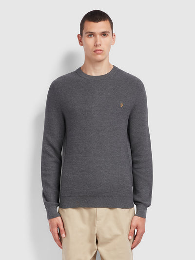Lynval Cotton Crew Neck Jumper In Farah Grey Marl
