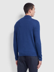 Rowe Cotton Funnel Neck Jumper In Ultramarine Marl