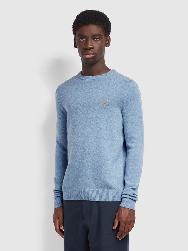 Rosecroft 100 Wool Crew Neck Jumper In Wedgewood Blue