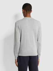 Mullen Cotton Crew Neck Jumper In Grey Marl