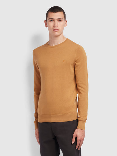 Mullen Cotton Crew Neck Jumper In Burnt Almond