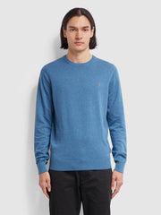 Mullen Cotton Crew Neck Jumper In Dusky Blue