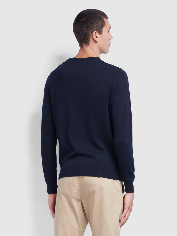 MULLEN COTTON CREW NECK JUMPER IN TRUE NAVY