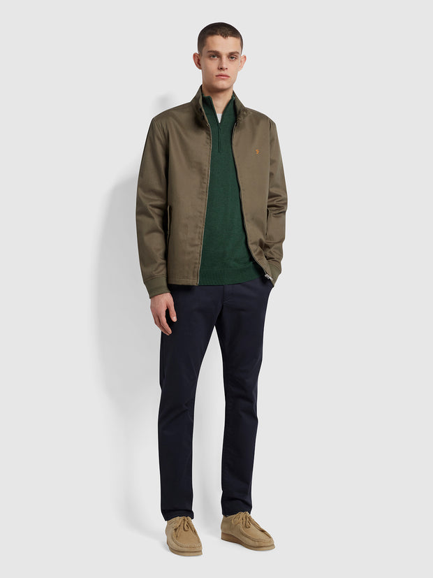 Redchurch Cotton Quarter Zip Jumper In Cedar Green Marl