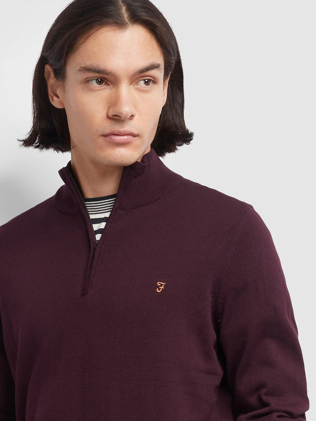 REDCHURCH COTTON QUARTER ZIP JUMPER IN FARAH RED