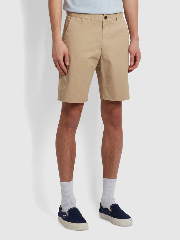 Hawk Organic Cotton Chino Shorts In Light Sand