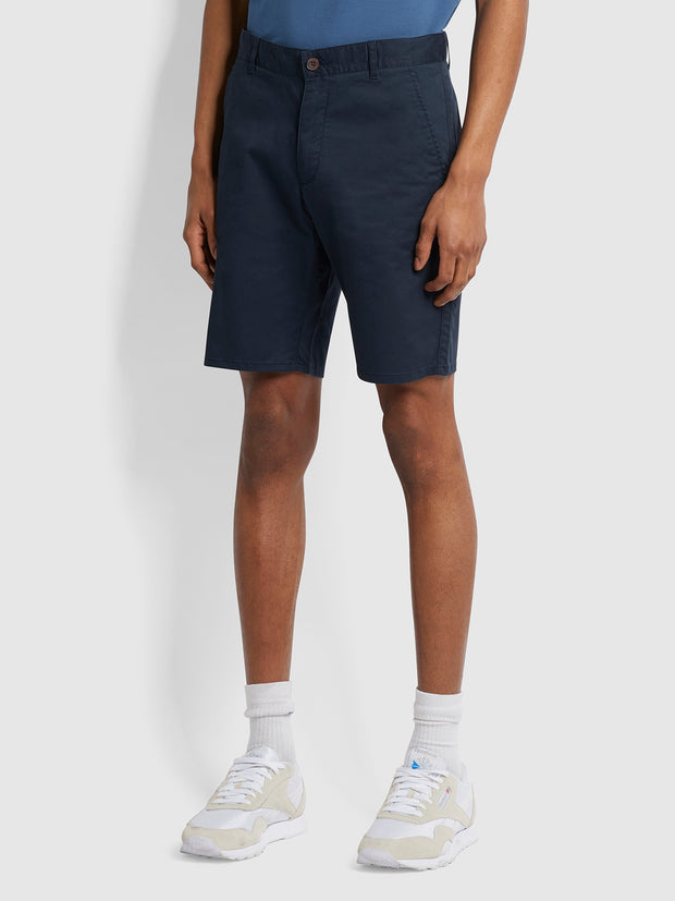 Hawk Organic Cotton Chino Shorts In True Navy