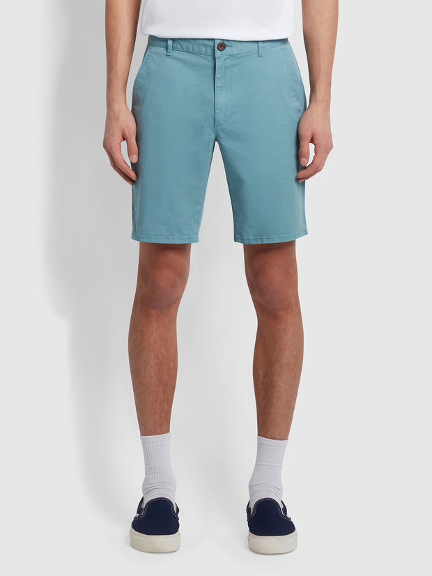 Hawk Dyed Twill Chino Shorts In Reef Green