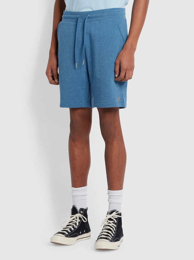 Durrington Organic Cotton Jersey Shorts In Blue Mist Marl