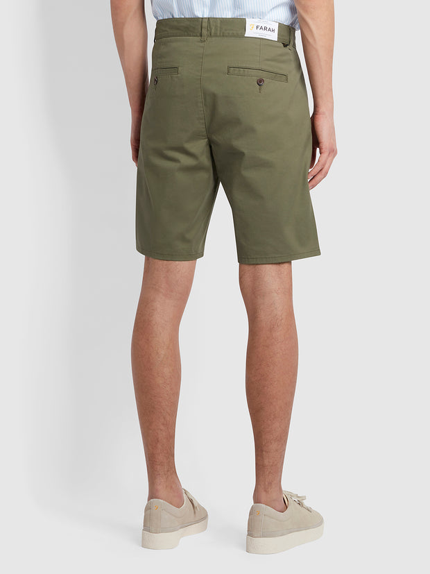 Hawk Organic Cotton Chino Shorts In Vintage Green