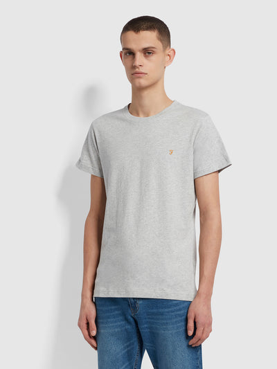 Farris Slim Fit Twin Pack Organic Cotton T-Shirt In Grey Marl / True Navy