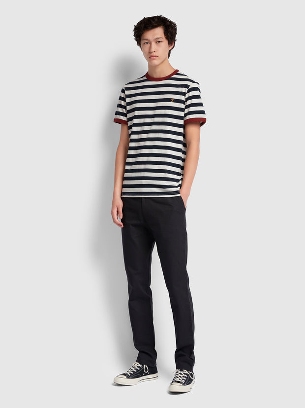 Belgrove Slim Fit Striped T-Shirt In Burnt Red