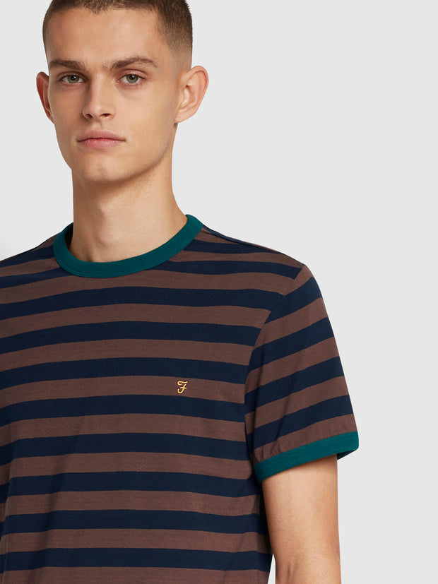 Belgrove Slim Fit Striped T-Shirt In Farah Burgundy