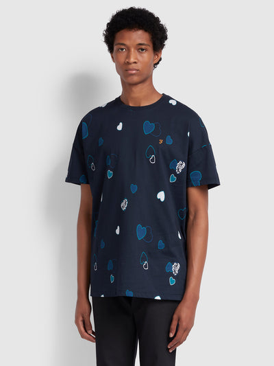 Soul Relaxed Fit Printed T-Shirt In True Navy