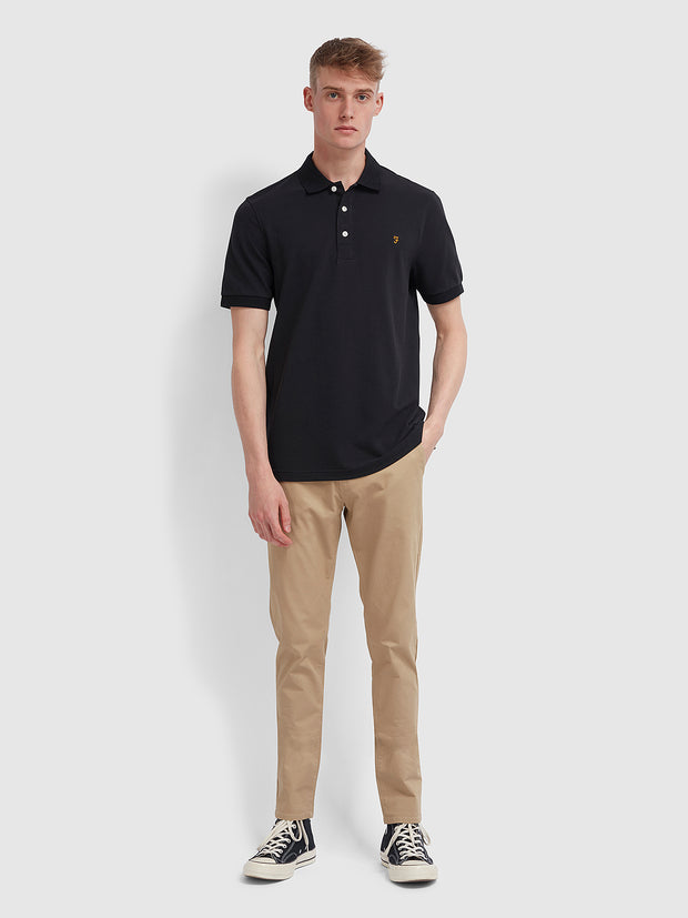 Blanes Slim Fit Polo Shirt In Deep Black