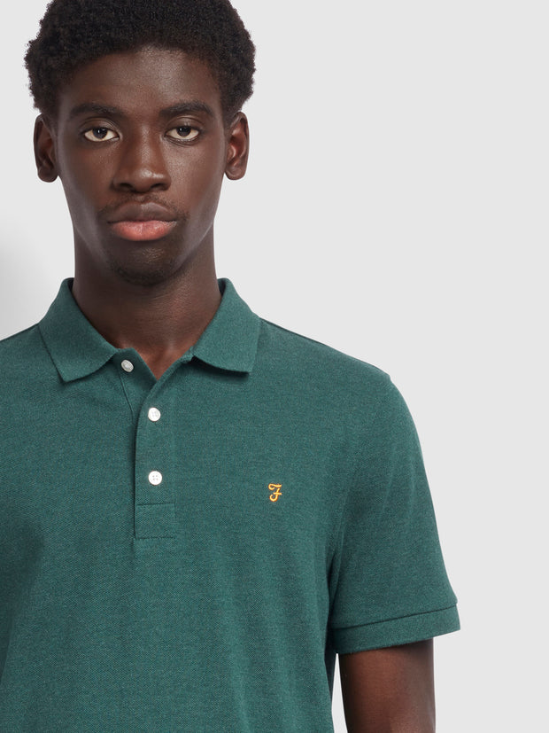 Blanes Slim Fit Polo Shirt In Bright Emerald Marl