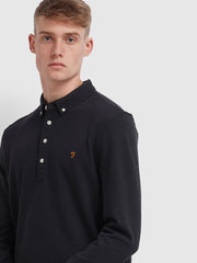 Ricky Slim Fit Long Sleeve Polo Shirt In Deep Black