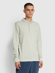 Ricky Slim Fit Long Sleeve Polo Shirt In Silver Marl