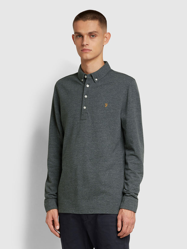 Ricky Slim Fit Long Sleeve Polo Shirt In Farah Grey Marl