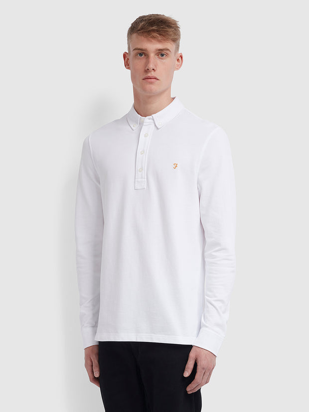 Ricky Slim Fit Long Sleeve Polo Shirt In White