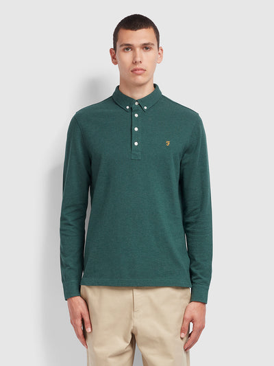 Ricky Slim Fit Long Sleeve Polo Shirt In Bright Emerald Marl