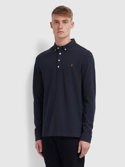 Ricky Slim Fit Long Sleeve Polo Shirt In True Navy