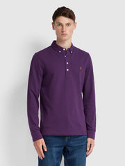 RICKY SLIM FIT LONG SLEEVE POLO SHIRT IN BRIGHT PURPLE