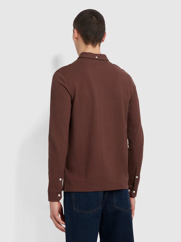 Ricky Slim Fit Long Sleeve Polo Shirt In Farah Burgundy