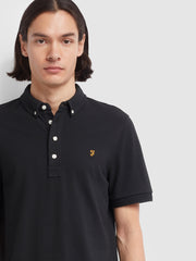 RICKY SLIM FIT POLO SHIRT IN DEEP BLACK