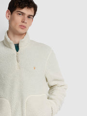 BRIARS QUARTER ZIP FLEECE SWEATSHIRT IN ECRU