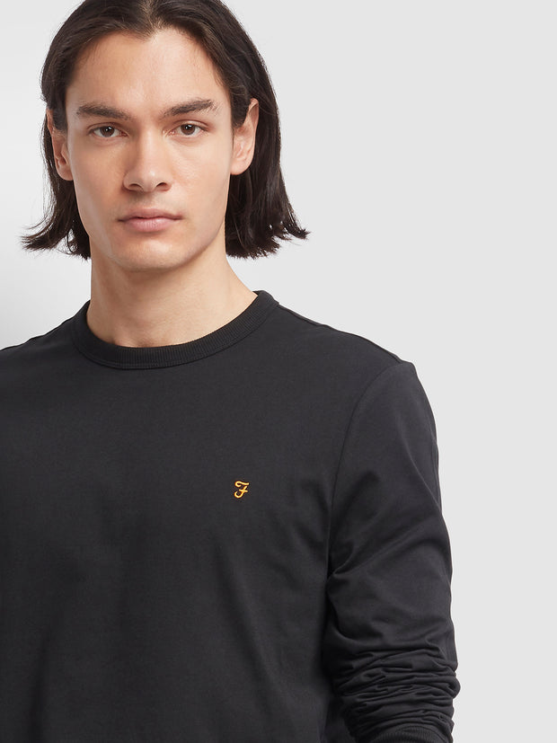Worth Slim Fit Long Sleeve T-Shirt In Deep Black