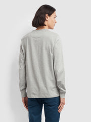 WORTH SLIM FIT LONG SLEEVE T-SHIRT IN RAIN HEATHER